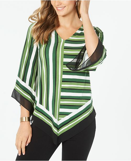 Alfani Petite Striped Poncho Top, Created for Macy's
