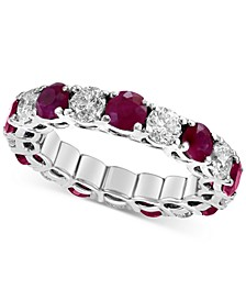 EFFY® Certified Ruby (2-9/10 ct. t.w) & Diamond (2-1/5 ct. t.w.) Eternity Band in 14k White Gold(Also Available In Sapphire, Emerald, and Pink Sapphire)