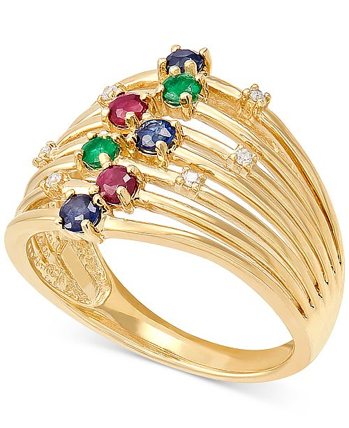 Macy's Multi-Gemstone (5/8 ct. t.w.) & Diamond Accent Statement Ring in 14k Gold