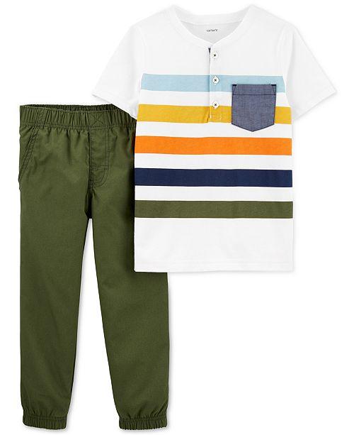 Carter's Toddler Boys 2-Pc. Cotton Henley T-Shirt & Pants Set