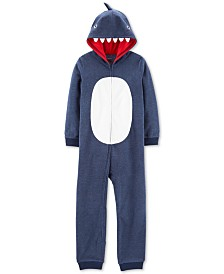 Carter's Little & Big Boys 1-Pc. Hooded Shark Fleece Pajamas