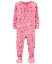 Baby Girls 1-Pc. Dinosaur-Print Cotton Footed Pajamas
