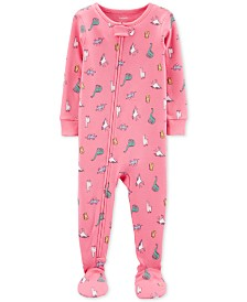 Carter's Baby Girls 1-Pc. Dinosaur-Print Cotton Footed Pajamas