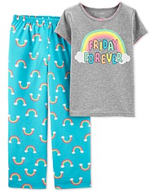Little & Big Girls 2-Pc. Rainbow Pajama Set