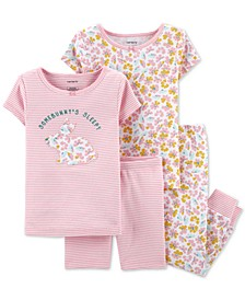 Baby Girls 4-Pc. Cotton Somebunny's Sleepy Pajama Set