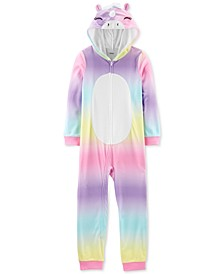 Little & Big Girls 1-Pc. Hooded Unicorn Fleece Pajamas