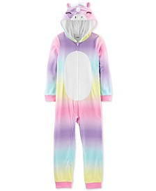 Carter's Little & Big Girls 1-Pc. Hooded Unicorn Fleece Pajamas