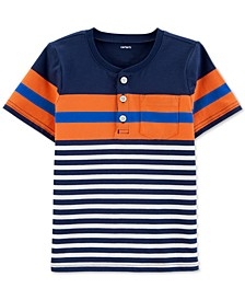 Baby Boys Henley-Neck Striped Cotton T-Shirt