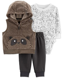 Baby Boys 3-Pc. Hooded Raccoon Vest, Printed Bodysuit & Pants Set