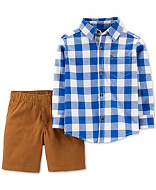 Baby Boys 2-Pc. Cotton Checkered Button-Front Top & Canvas Shorts Set