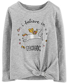 Toddler Girls Unicorn-Print Tie-Front Cotton T-Shirt