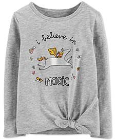 Toddler Girls Unicorn-Print Tie-Front Cotton T-Shirt