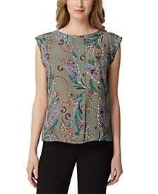 Paisley-Print Pleat-Front Top