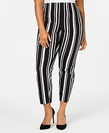 INC Plus Size Striped Bengaline Skinny Pants, Created for Macy's