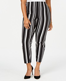 I.N.C. Plus Size Striped Bengaline Skinny Pants, Created for Macy's