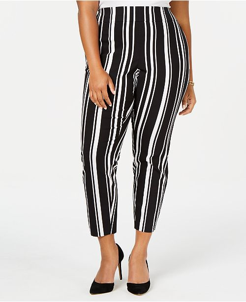 INC International Concepts INC Plus Size Striped Bengaline Skinny Pants, Created for Macy's