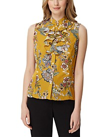 Petite Floral-Print Ruffle-Neck Top