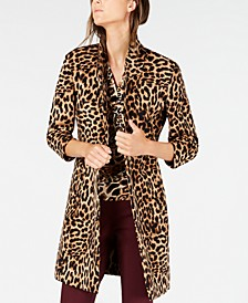 INC Leopard-Print Cocoon Coat, Created for Macy's