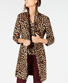 I.N.C. Leopard-Print Cocoon Coat, Created for Macy's