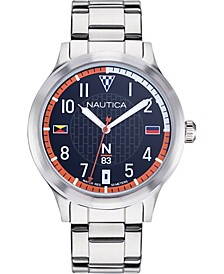 N83 Men's NAPCFS908 Crissy Field Silver/Blue/Red Stainless Steel Bracelet Watch