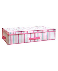 Kids Under the Bed Storage Box in Painterly Pink Stripe