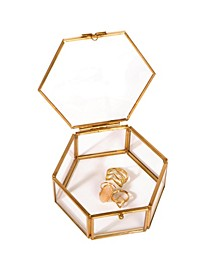 Vintage Hexagon Laced Glass Keepsake Box