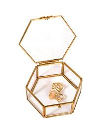 Home Details Vintage Hexagon Laced Glass Keepsake Box