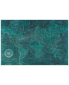 "'Azure World Map' Frameless Free Floating Tempered Glass Panel Graphic Wall Art - 48"" x 32''"