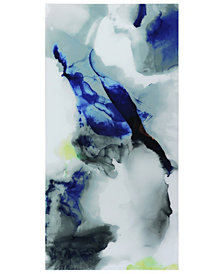 "Empire Art Direct 'Blue Splash' Frameless Free Floating Tempered Art Glass Wall Art - 72"" x 36''"