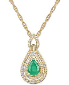 "Emerald (1 ct. t.w.) & Diamond (1/4 ct. t.w.) 18"" Pendant Necklace in 14k Gold (Also available in Certified Ruby, Sapphire and Tanzanite)"