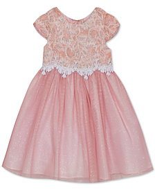 Rare Editions Little Girls Lace-Bodice Mesh Dress