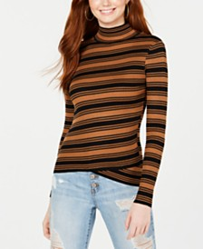 Say What? Juniors' Striped Crossover-Hem Mock-Neck Sweater