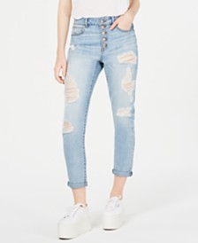 Rewash Juniors' Button-Fly Ripped Skinny Mom Jeans