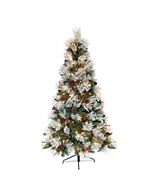 International 7.5 ft. Pre-Lit Flocked Pacific Pine Artificial Christmas Tree with 400 UL-Listed Clear Lights