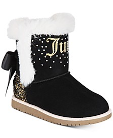 Little Girls Black Cozy Boots