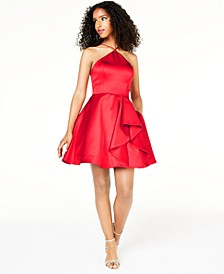 Juniors' Y-Neck Ruffled Dress