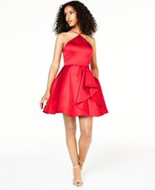 Blondie Nites Juniors' Y-Neck Ruffled Dress