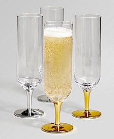 Short Stem Silver & Gold-Tone Champagne Glasses, Set of 4, Created for Macy's