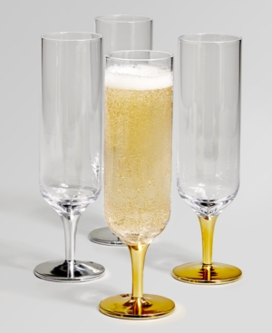 Closeout! The Cellar Short Stem Silver & Gold-Tone Champagne Glasses, Set of 4, Created for Macy's
