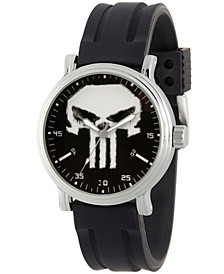 Men's Marvel's Knight Present Punisher Black Strap Watch 44mm