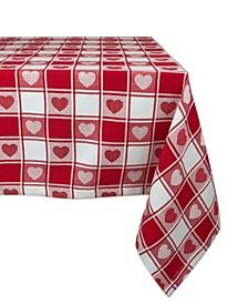 "Woven Check Hearts Tablecloth 60"" x 84"""