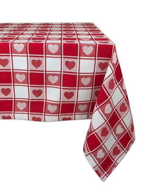 "Design Import Woven Check Hearts Tablecloth 60"" x 84"""