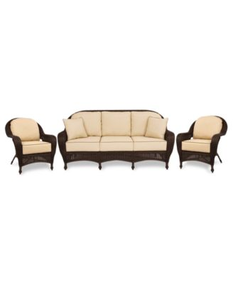Monterey Outdoor Wicker 3-Pc. Seating Set with Sunbrella® Cushions  (1 Sofa and 2 Club Chairs), Created for Macy's