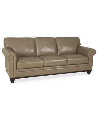 Martha Stewart Collection Bradyn Leather Sofa Furniture