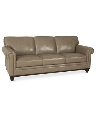 Martha Stewart Collection Bradyn Leather Sofa   Furniture   Macy's