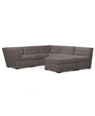 Roxanne Fabric 6Piece Modular Sectional Sofa with Ottoman