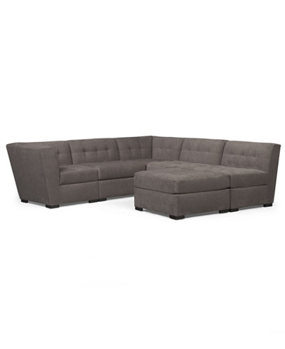 Roxanne Fabric 6-Piece Modular Sectional Sofa with Ottoman ...