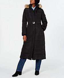 Plus Size Hooded Faux-Fur-Trim Maxi Coat