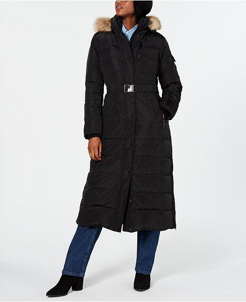 Michael Kors Plus Size Hooded Faux-Fur-Trim Maxi Coat