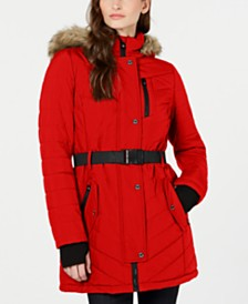 Michael Michael Kors Belted Hooded Faux-Fur-Trim Puffer Coat